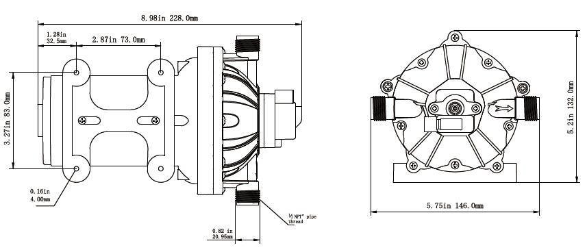 Singflo Deck Wash Kit 12v 20lpm/5.0gpm 70 Psi Washdown