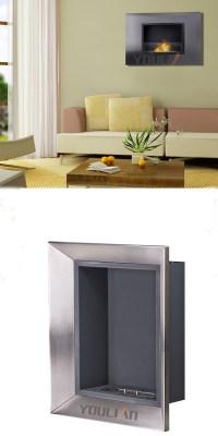 2017 New Modern Imitation Metal Box Ethanol Fireplace ...