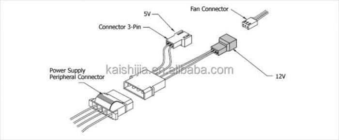 4pin Molex To Fan Cable,4x 3-pin Fan Power Splitter Cable