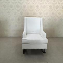 White Upholstered Rocking Chair Behind The Promo Codes Fabric Wingback Wooden