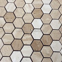 Beige and white travertine hexagon tile floor mosaic, View ...