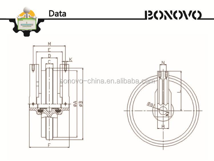 Pelle train pièces rouleau de renvoi devant/roues guide