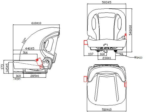 Aftermarket Linde Tcm Kubota Toyota Hangcha Forklift Seat