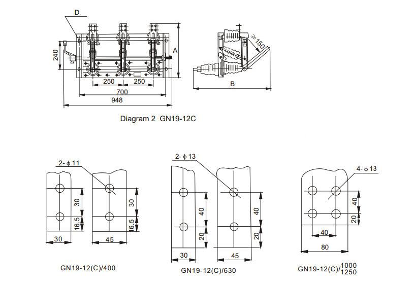 40.5kv Indoor Ac High Voltage Isolation Disconnector