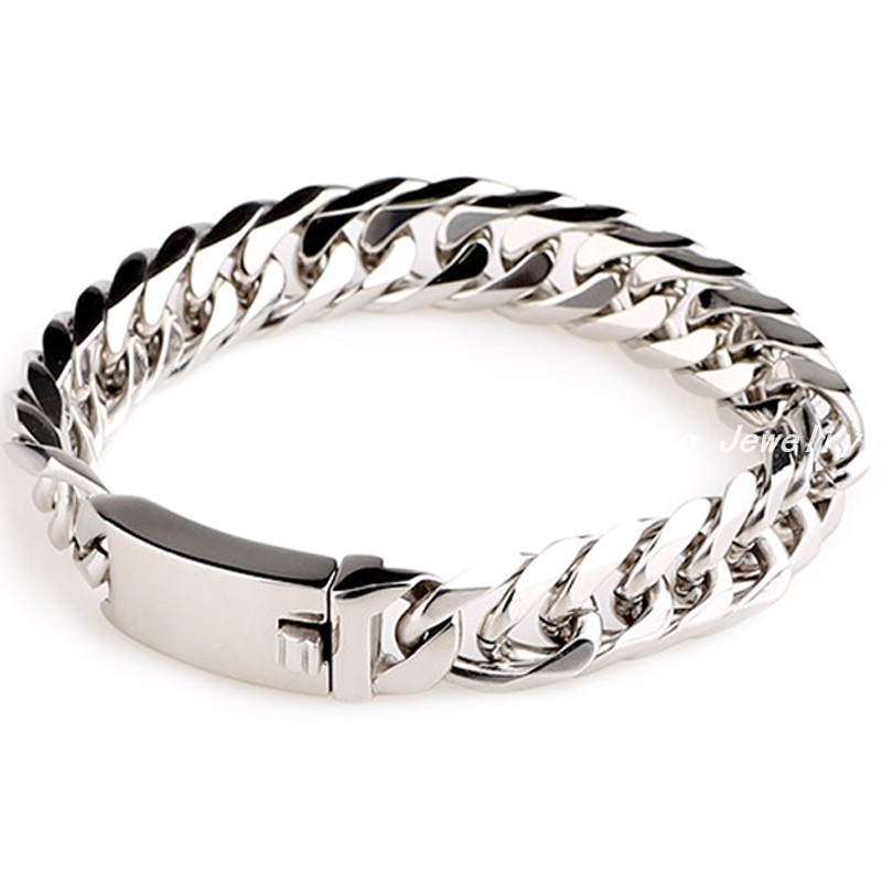 522371596 ①8.66(22cm)*16mm Fashion Sports Cuff Jewelry 316L Silver Stainless ...
