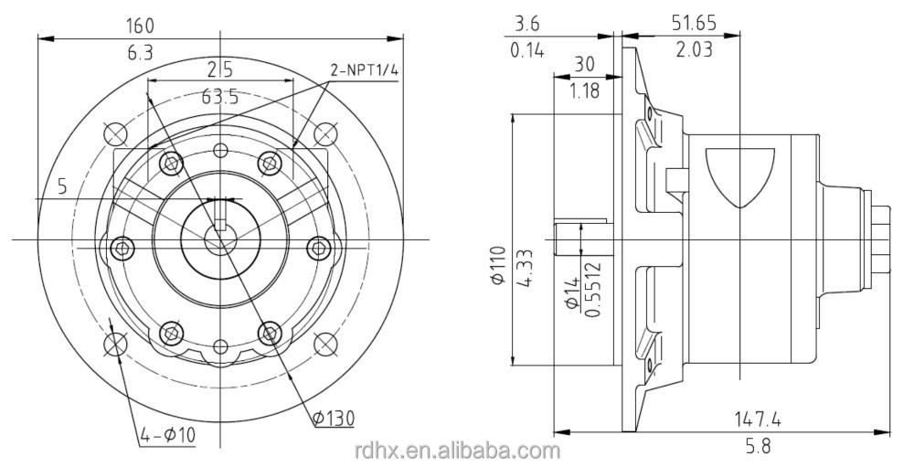 HX4AM-F110 IEC D71 Flange Mounting,4 Vanes,Reversible 4AM