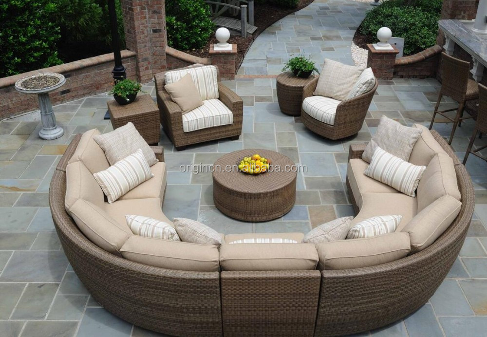 11 Seater Curved Rattan Sofa Set With Lounge Chair Sectional Wicker Semi Circle Patio Furniture