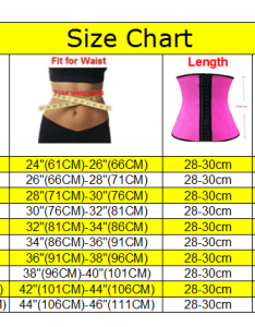 Size chart correct also hot sale fajas latex rubber classic waist cinchers pcs rh alibaba