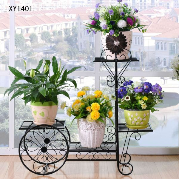 Wrought Iron Bicycle Garden Basket 3 Tier Patio Porch