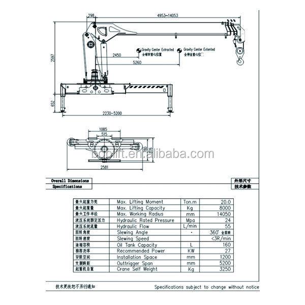 Sq8sa3 Price Of 8 Ton Hydraulic Jib Hoist Mobile Crane