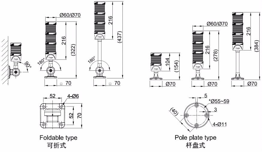 12v Led Signal Warning Light Plc Control Flashing / Steady