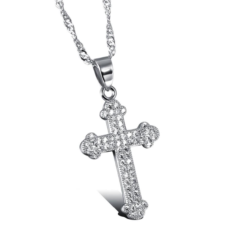 Unisex Cross Pendant Necklaces Classical Platinum Plated