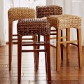 Dining set bar stool hand woven by wicker hyacinth amp wooden frame