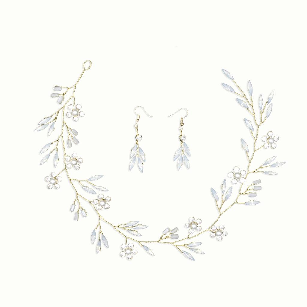 Artifical Moonstone Leaf Pearl Flower Headband Earring Set