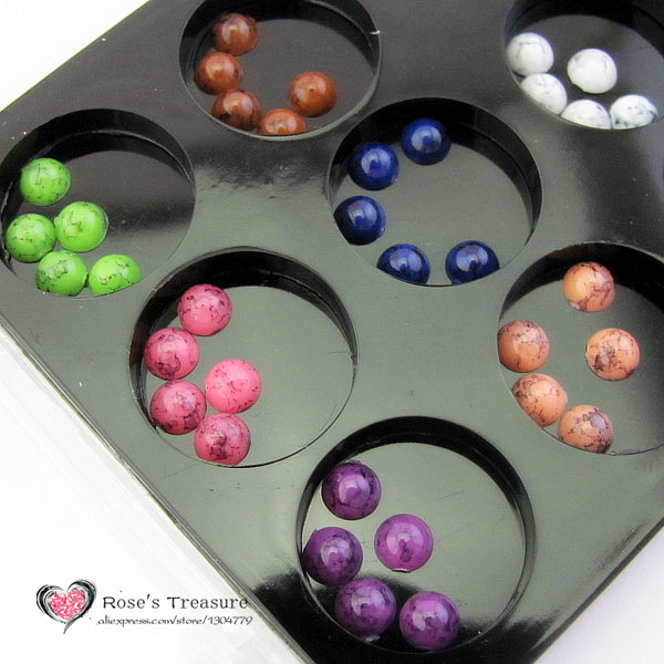 √12 oro y plata 3D acrílico nail art Decoración granos de la bola ...