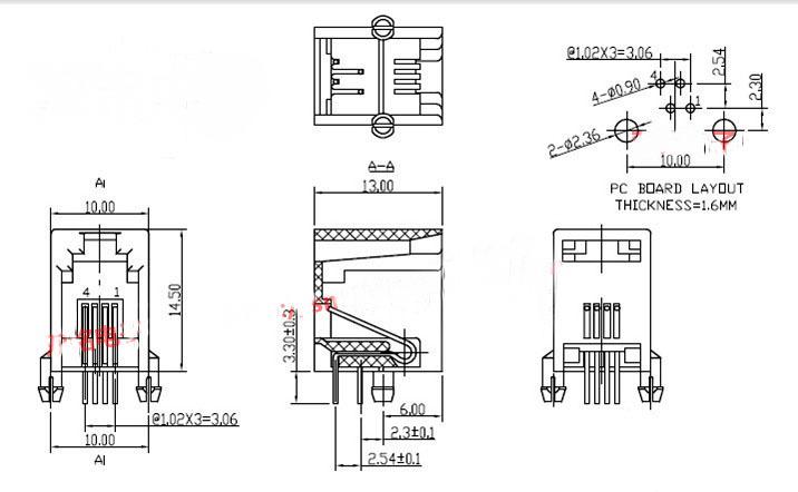 Купить Потребительские товары RJ9 RJ10 RJ11 4P4Cpcb 616PCB