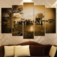 5 Piece Wall Art Grassland African Elephants Animals ...