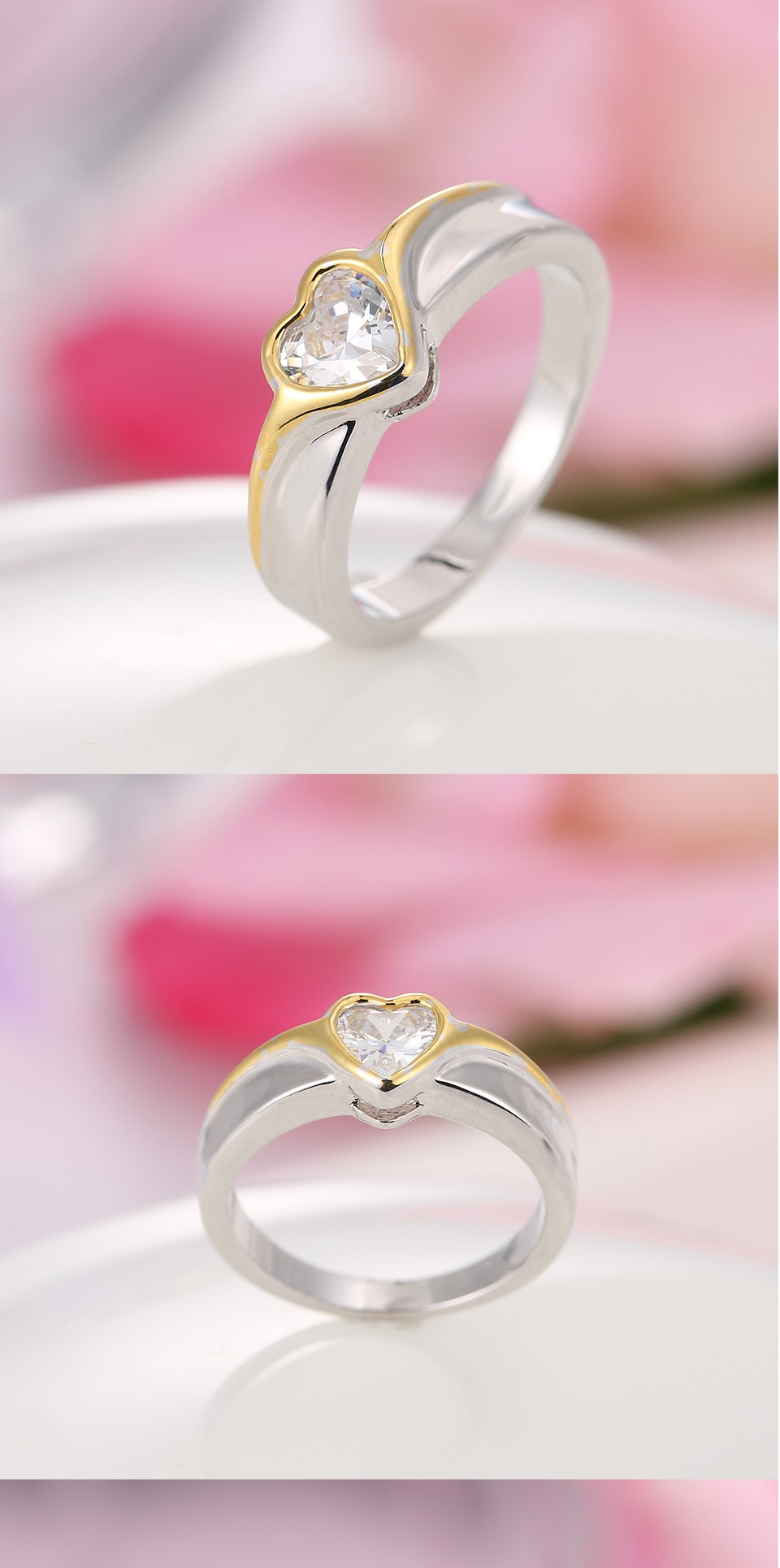 Round Cut gold-color CZircon Crystal Round Rings Heart Romantic Love ...