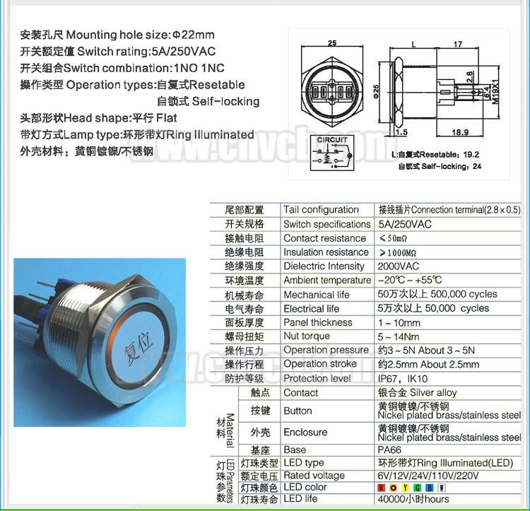 1pcs 16 mm DEL verte métal momentanée bouton-poussoir Interrupteur Noir Imperméable onpow 12 V