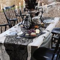 Black Leaf Tablecloth Halloween Decorations Home ...
