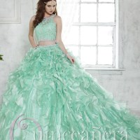 Mint Green Beaded Lace Two Pieces Quinceanera Dresses 2016 ...