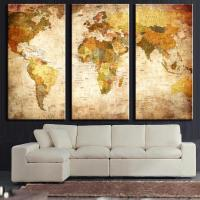 3 Pcs/Set Vintage Painting Framed Canvas Wall Art Picture ...