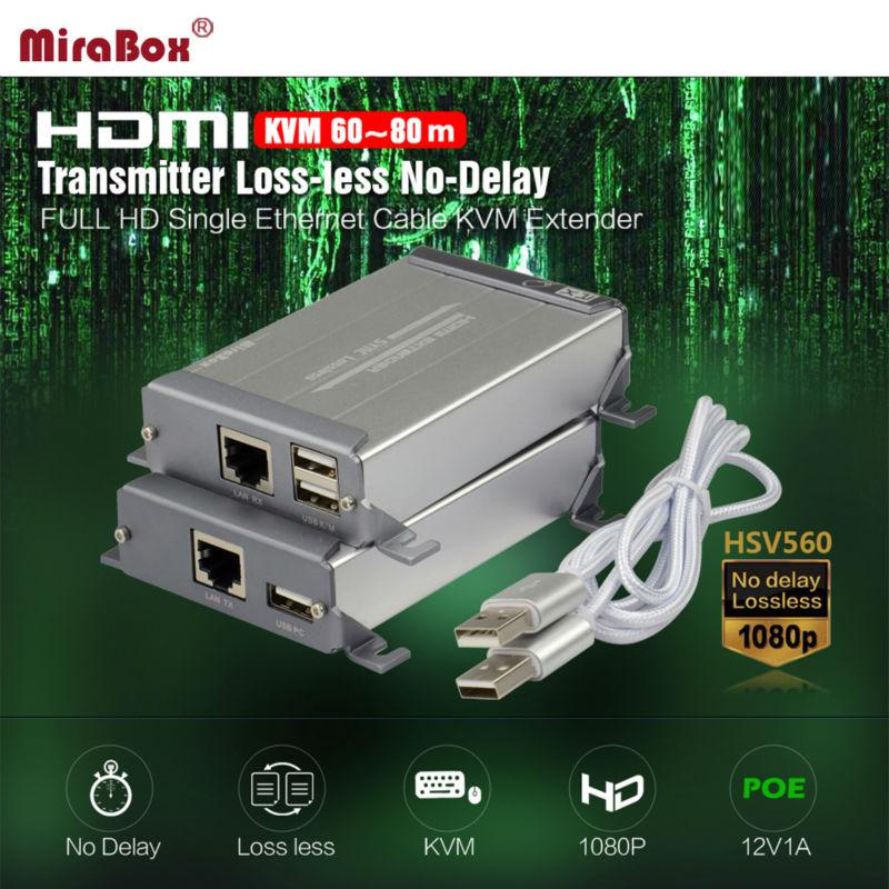 משלוח חינם HDMI KVM Extender על החתול כבל מאריך 120m עם מראה יפה יש פו תפקוד LossLESS לא עיכוב-KVM