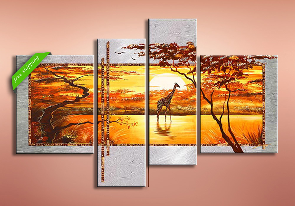 4pieces Trees and deer Modern abstract canvas wall art