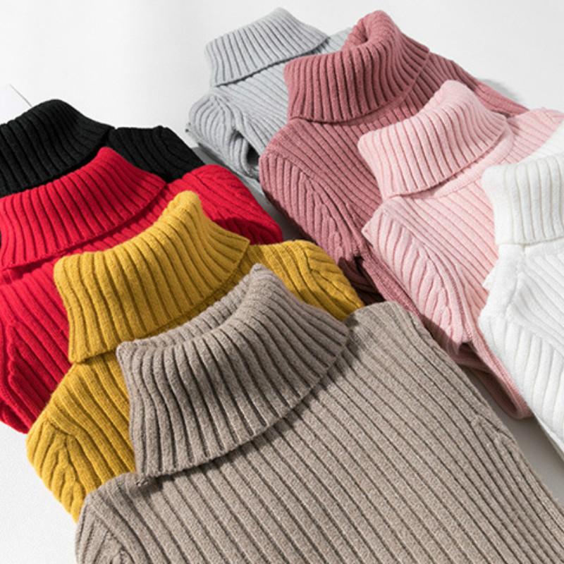 5d39d388b Bebé niños niñas suéteres de invierno de niña de manga larga de punto de  jersey de cuello alto ropa de los niños suéter de otoño para niñas niños  abrigo