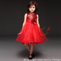 Pettigirl 2015 Girls Dresses Red Sequins Girl Wedding