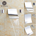 Polished Chrome Lavatory Sink Basin Faucet Two Handles Wall Mount Waterfall Washbasin Mixer Taps