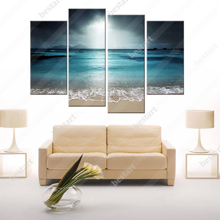Enmarcado 4 paneles océano paisaje Impresión de lienzo pintura ...