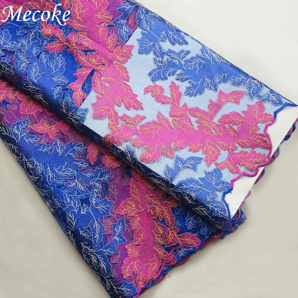 ᗕ2016 nueva moda azul del cordón africano alta calidad de la tela ...