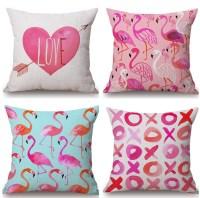 Watercolor Heart Linen Cotton Pillow Cover Flamingos Home ...