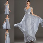 Silver Formal Dresses Evening Gowns with Sleeves