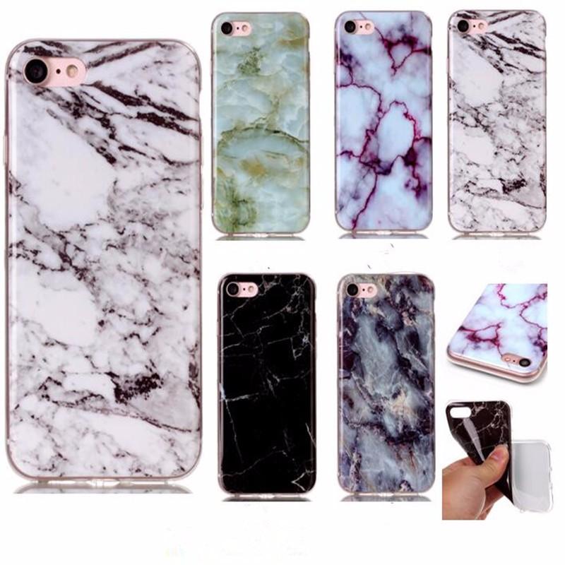 ✓Caso suave de TPU para iPhone 7 Cubierta de moda de mármol imagen ...