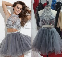 2015 Real Sample 2 Piece Prom Dresses Short Beaded ...