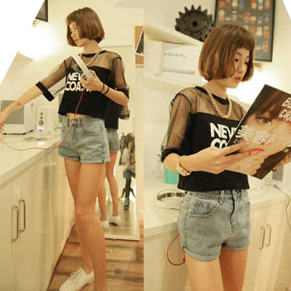 2ce933344e324 Women T-Shirt Crop Top Shirt Sleeve Mesh See-through Short Tops For ...
