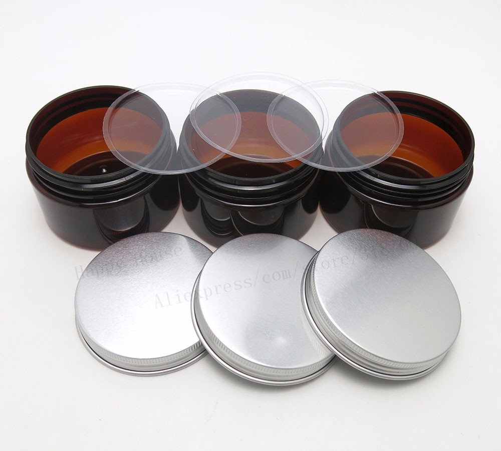 66b852847fc Click here!! 30 x 120g Amber PET cream jar 4oz Cream Bottle with silver  aluminum lids and Inner Pad