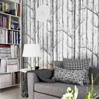 HaokHome Birch Tree non woven woods wallpaper roll modern ...