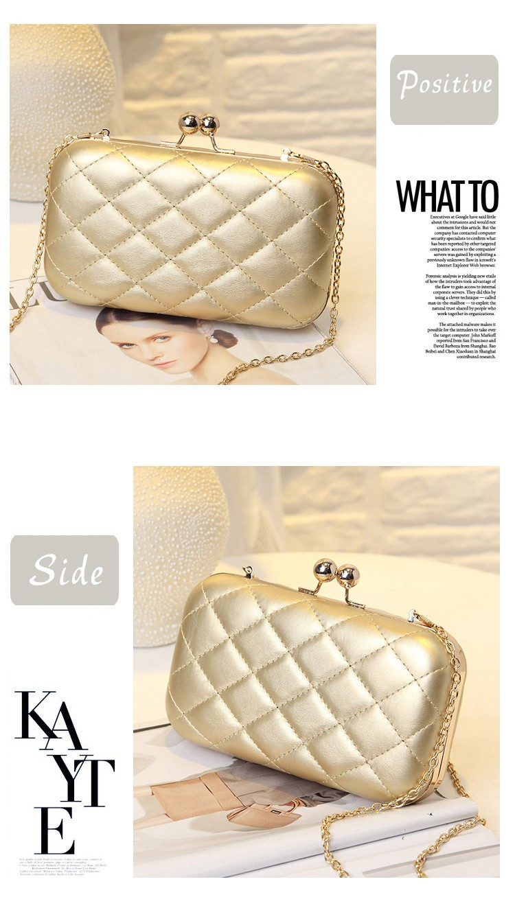 Hot Casual Fashion Pu Leather Mini Quilted Chain Shoulder Bag Shanghai Gold Crossbody Black Clutch Party Evening Ladies Hand Across Body Messenger