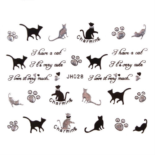 12 Designs Nail Art 3D Sticker Black Silver Cat Paws Nail
