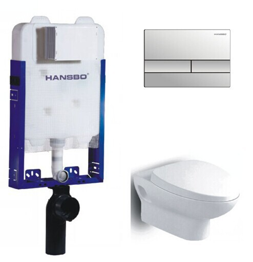 hidden in wall tank with wall hung toilet setconcealed