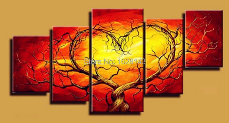 Cheap Large Canvas Art Red Trees Heart 5panels Abstract