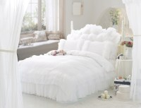 White ruffle lace princess bedding comforter set full ...