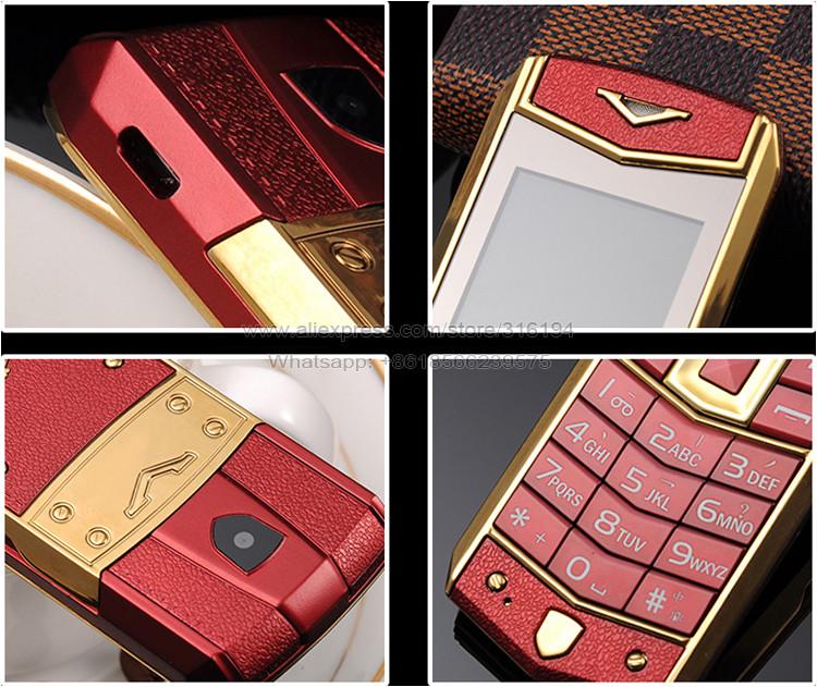 2015 רוסית ערבית ספרדית צרפתית החתימה רטט wechat עור יוקרתי, מכונית זהב טלפון נייד חינם במקרה P234