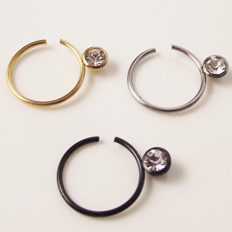 1 Piece Gold Silver Black Clear Gem Loop Hoop Ring Stud Nose Ear