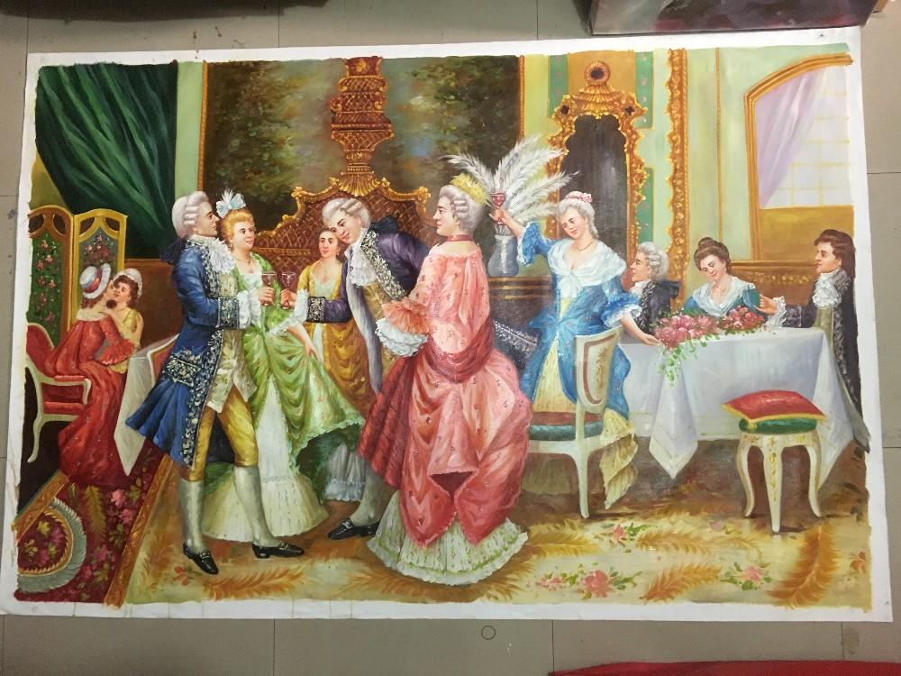 Dipinti Murali E Pittura Ad Ago : Dipinto a mano pittura corte figure vino rosso partito palace