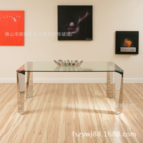 Stainless Steel Tables Glass Dining Table Double Bit