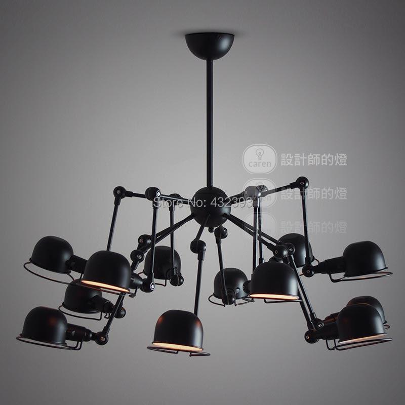 American Vintage Style 12 lights bras mcanique araigne lustre industrielle plafond noir lampe